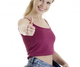 Weight loss successful girl Stock Photo