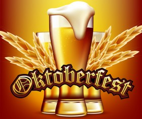Wheat beer poster template vector material