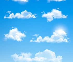 White cloud design vectors set 02