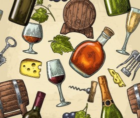 Wine pattern with beige background vector