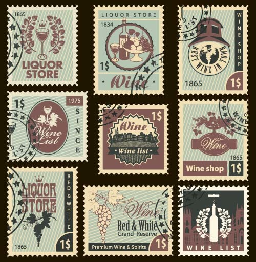 Wine postal stamps template vector