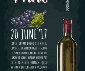 Wine poster template with grape vector