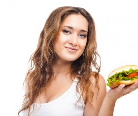 Woman eating hamburger Stock Photo 08