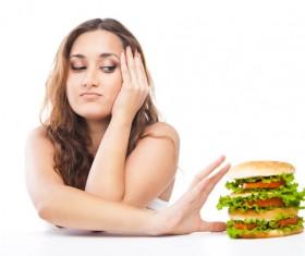 Woman eating hamburger Stock Photo 12