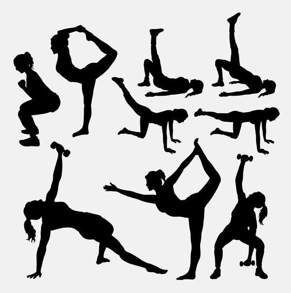 Women workout silhouette vector material 01