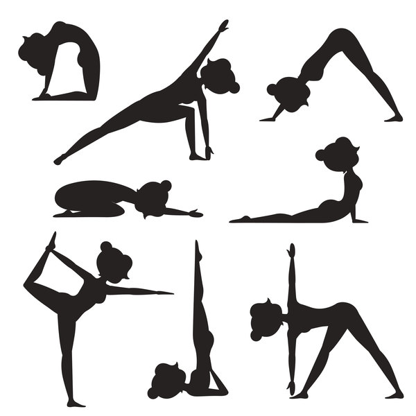 Women workout silhouette vector material 03