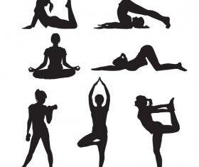 Women yoga pose silhouette vector material set 01