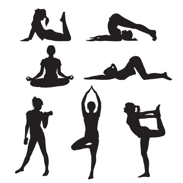 Women yoga pose silhouette vector material set 01