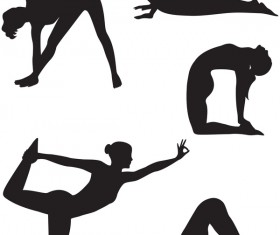 Women yoga pose silhouette vector material set 02