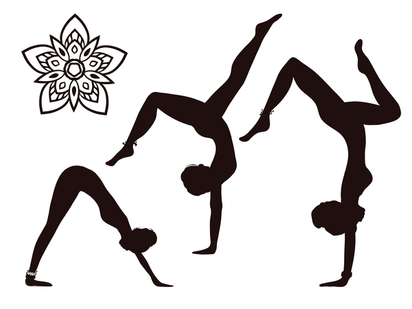 Women yoga pose silhouette vector material set 03