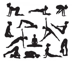 Women yoga pose silhouette vector material set 04
