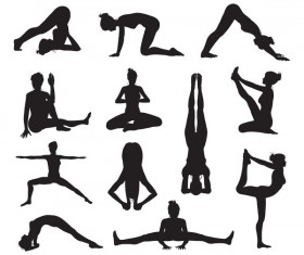Women yoga pose silhouette vector material set 05