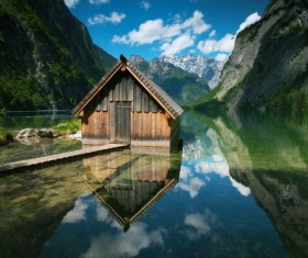 Wooden houses lakes mountains Stock Photo
