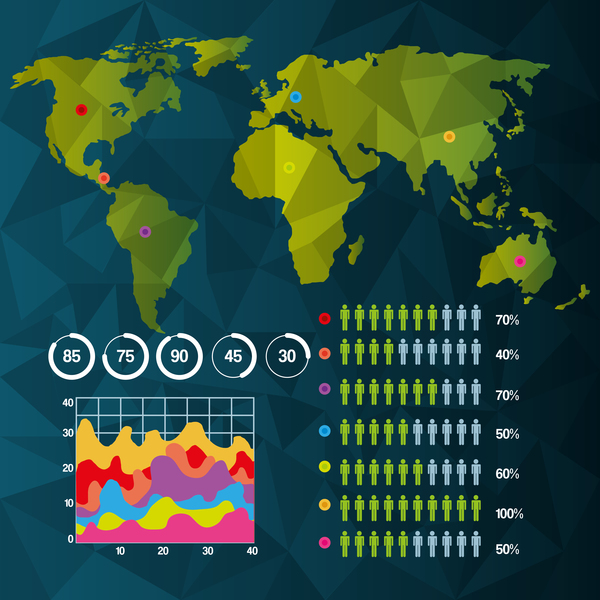 World infographic template vector material 01