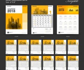 Yellow Desk Calendar 2018 vector template