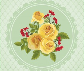 Yellow rose card with ornate background vector
