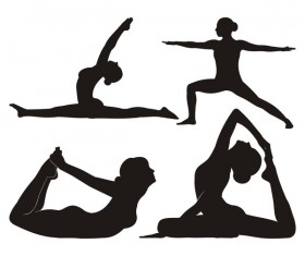 Yoga pose black silhouette vector 01