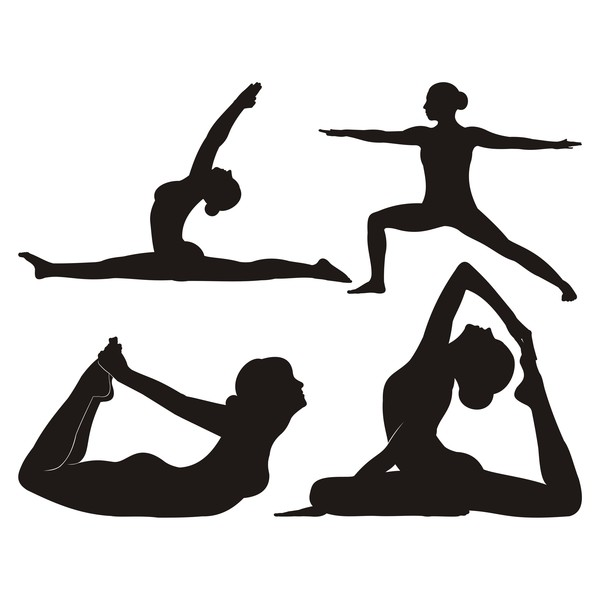 Yoga pose black silhouette vector 01