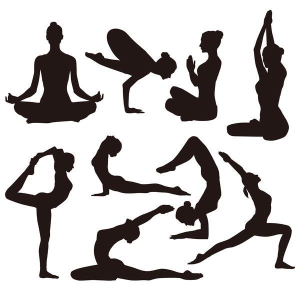 Yoga pose black silhouette vector 02