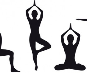 Yoga pose black silhouette vector 03