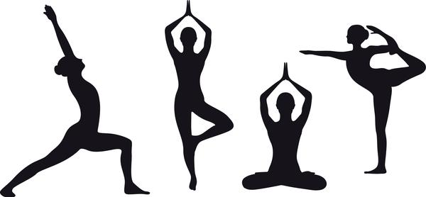 Yoga pose black silhouette vector 03