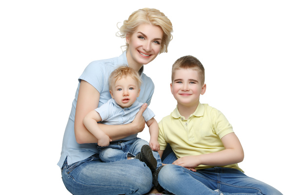 Young beautiful mother with children Stock Photo 04