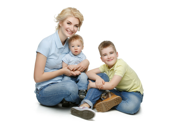 Young beautiful mother with children Stock Photo 05