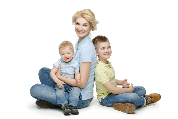 Young beautiful mother with children Stock Photo 06