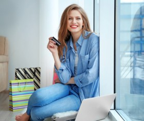 Young woman shopping online at home Stock Photo 11