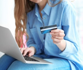 Young woman shopping online at home Stock Photo 14
