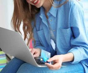 Young woman shopping online at home Stock Photo 15