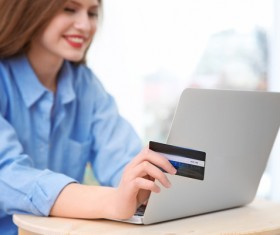 Young woman shopping online at home Stock Photo 17