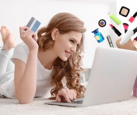 Young woman shopping online at home Stock Photo 18