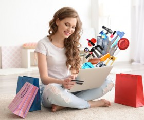 Young woman shopping online at home Stock Photo 19