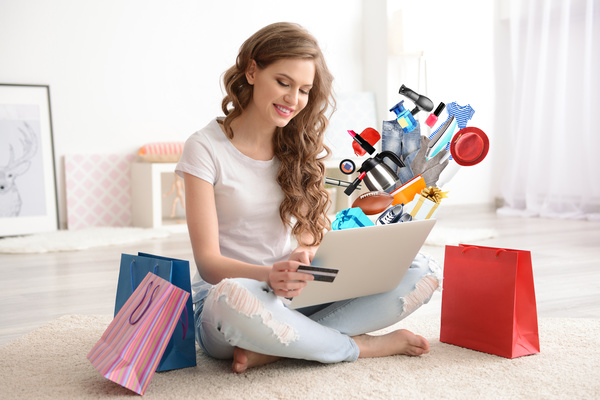 Young woman shopping online at home Stock Photo 19 ...