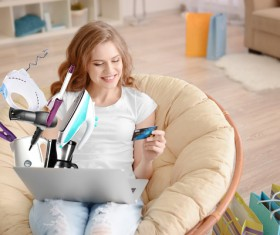 Young woman shopping online at home Stock Photo 20