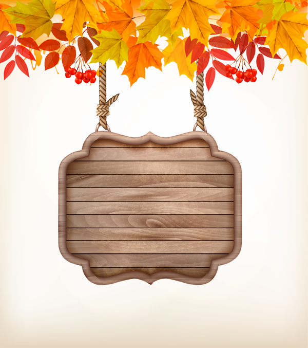 abstract autumn frame with wooden sign vector