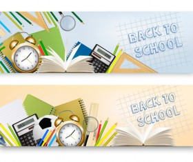 autumn back to school banners with supplies vector