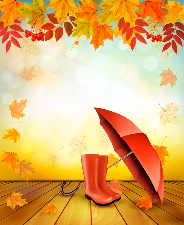 autumn background with red umbrella vector