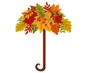 autumn leaves umbrella vector material