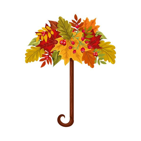 autumn leaves umbrella vector material