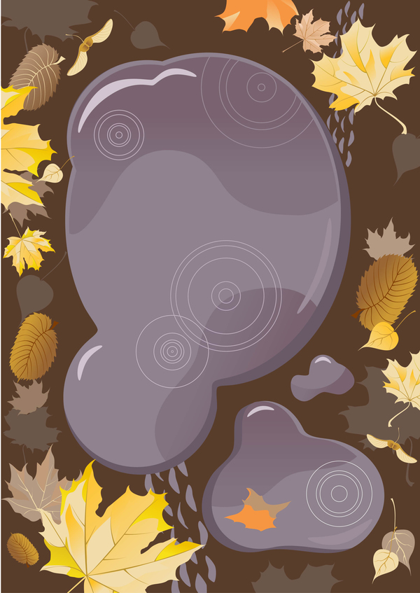 autumn leaves with brown background vector