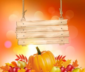 autumn background with wooden sign vector