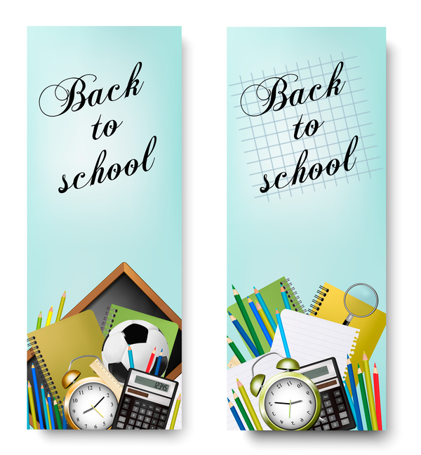 back to school banners vector 01