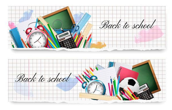back to school banners with school supplies vector