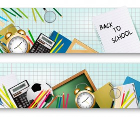 back to school banners with supplies vector 01