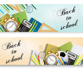 back to school banners with supplies vector 02