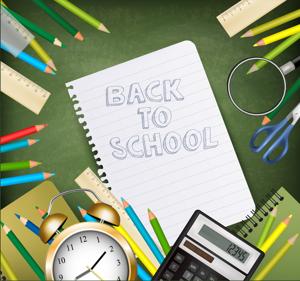 back to school frame with supplies vector