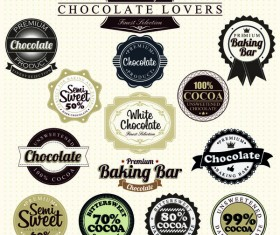 baking bar with chocolate badge with labels vector set