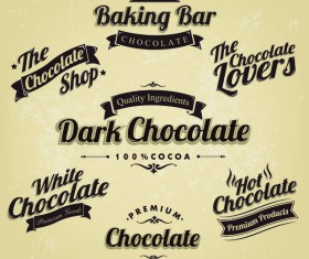 baking bar with chocolate vintege labels vector